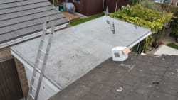 old felt roof to be renewed with epdm rubber roof before picture
