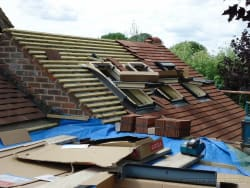 New roof installation with velux windows