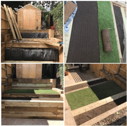 Installation of raised planters made from railway sleepers on a terraced garden. A turfed lawn was put in the middle.