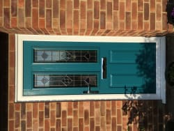 Peacock blue Solidor with Dorchester glass in Reepham