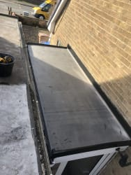 New EPDM rubber roof installed and reboarded