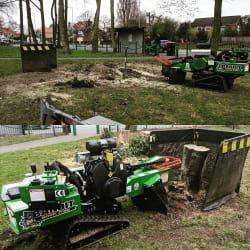 Stump grinding. Access Is never a problem with our tracked narrow access grinder