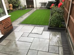Silver Grey Sandstone With Charcoal Edge & Artificial Lawn