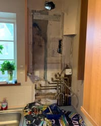 old boiler removed and awaiting new one