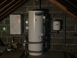 Conversion from a gravity fed system to a mains pressure unvented cylinder and new boiler all relocated into the loft space.
