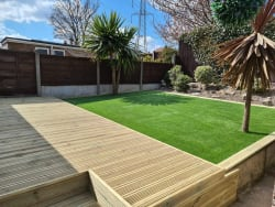 Decking and artificial grass installed