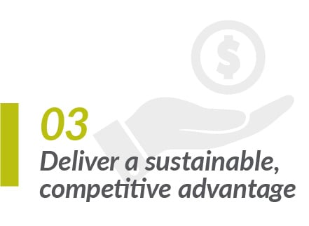 Deliver sustainable competitive advantage