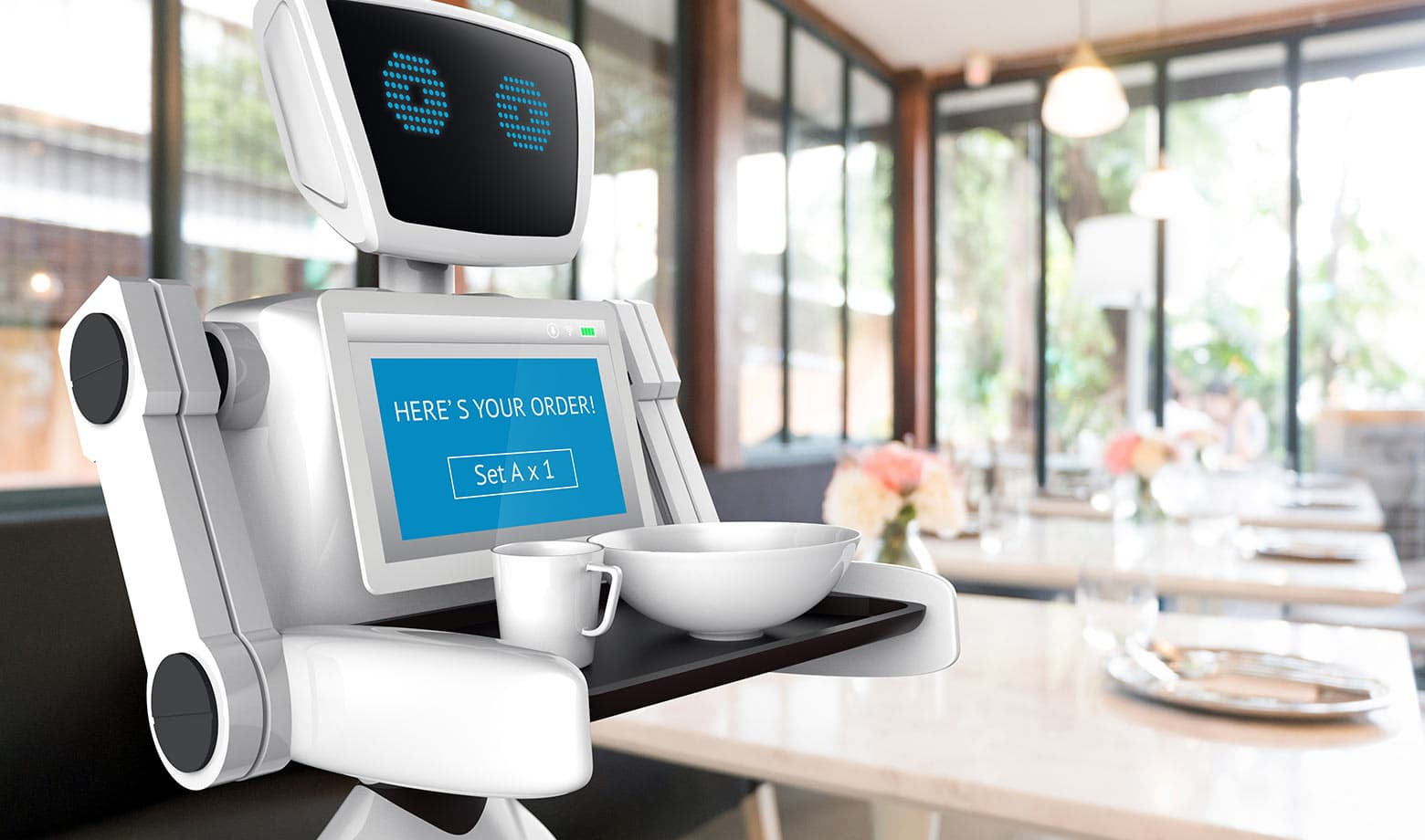 The image shows a robot delivering food