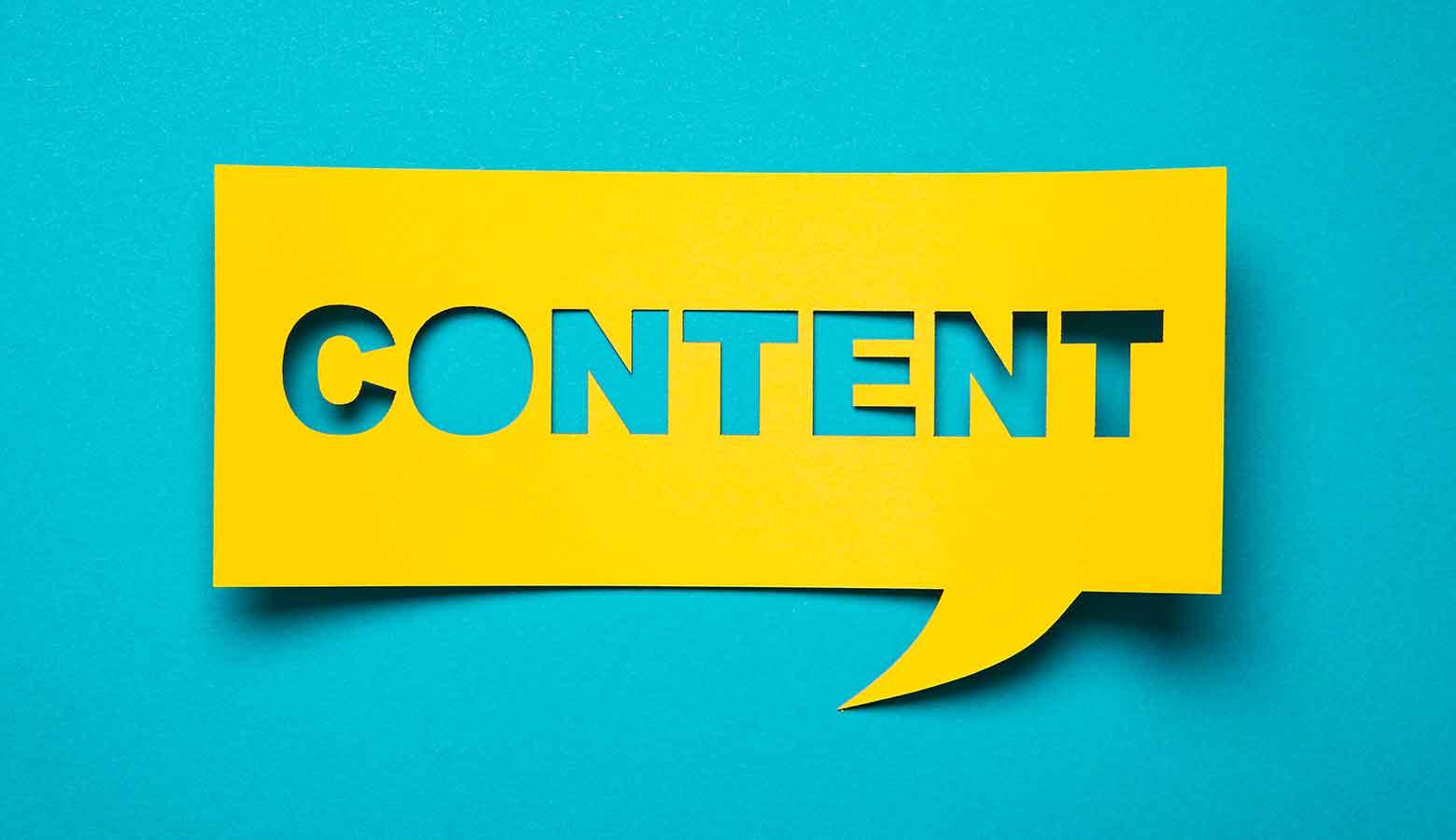 "Image shows a speech bubble that reads ""content"""