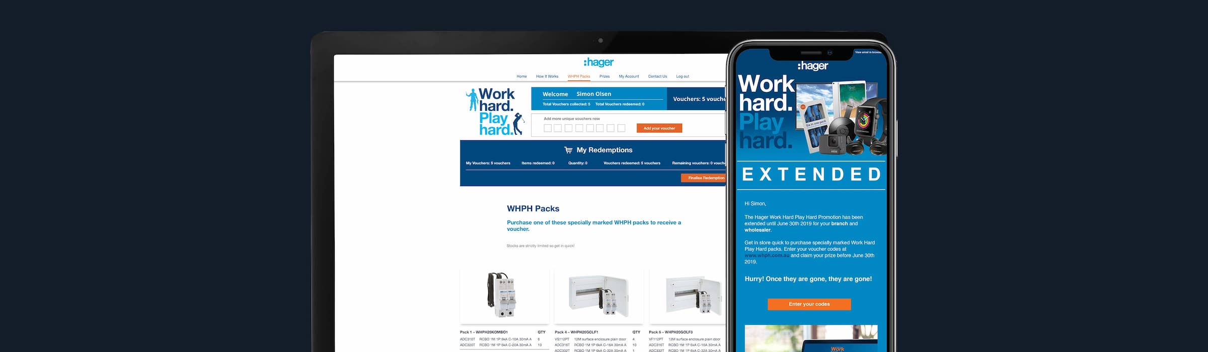 Hager promotion on laptop and phone screens