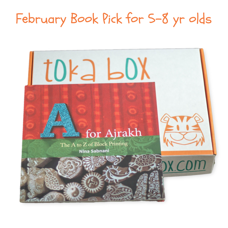 A for Ajrakh Block printing for kids