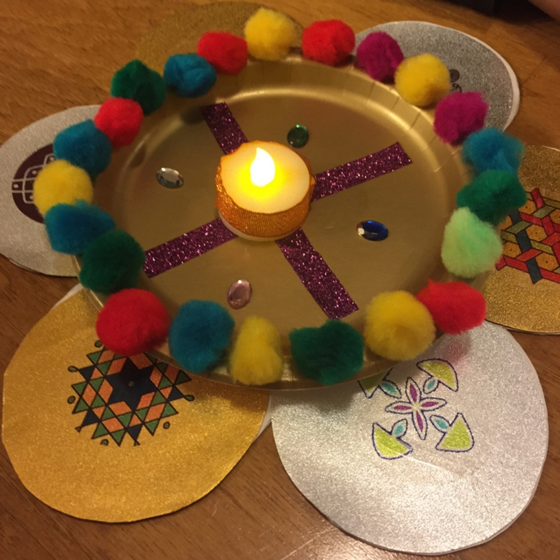 Diwali Activity for Preschoolers with Rangoli Plate