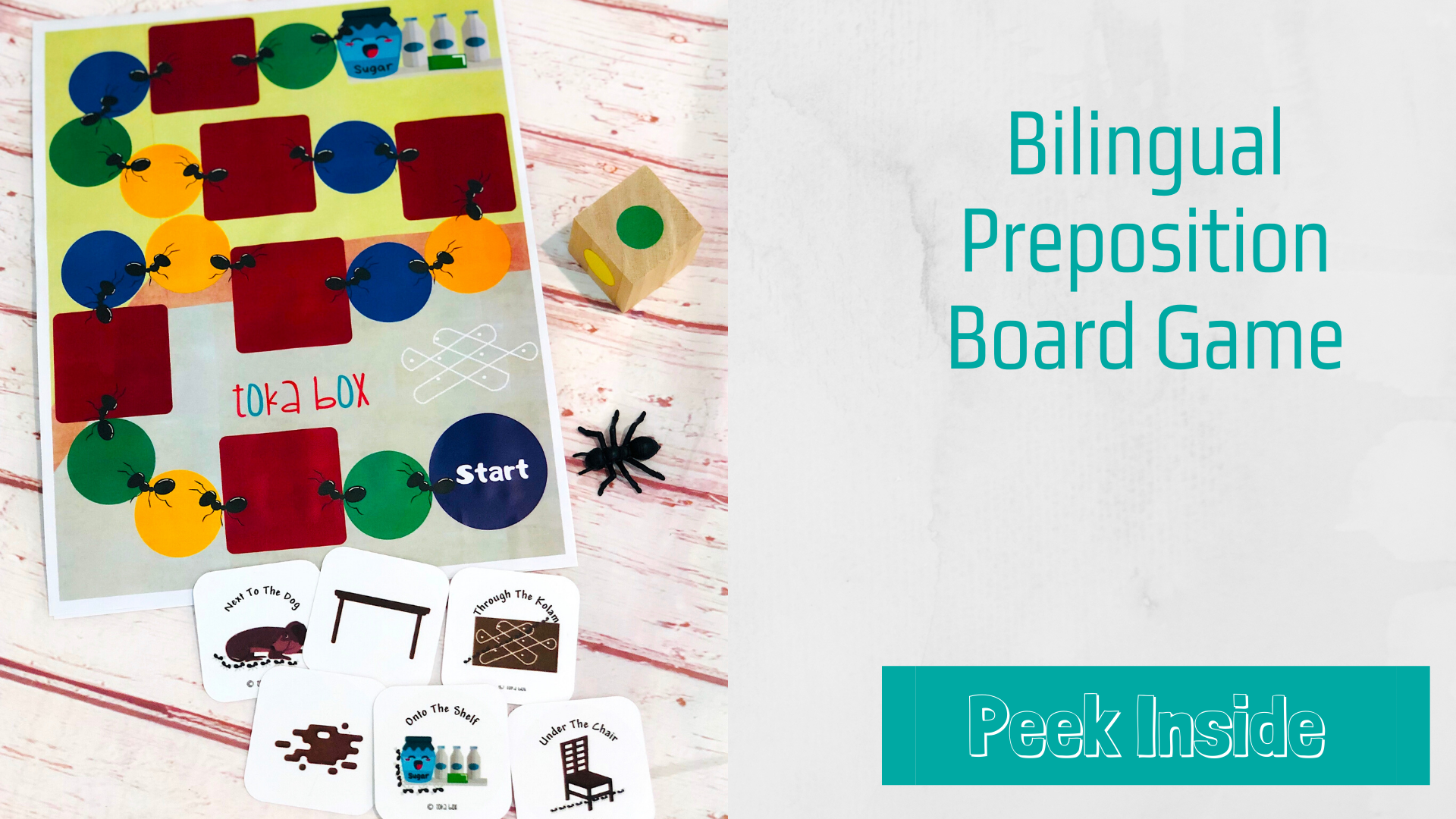 Bilingual Preposition Board Game for preschoolers