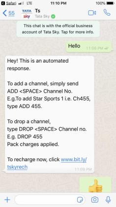 Tata Sky Whatsapp Chat