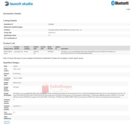 OPPO Find X2 Bluetooth SIG