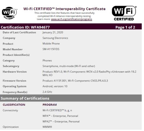 Samsung Galaxy A11 WiFi