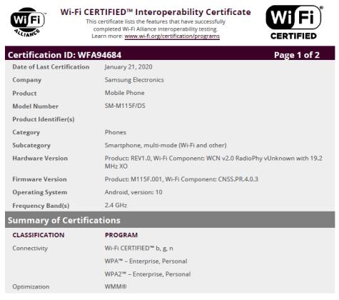 Samsung Galaxy M11 WiFi