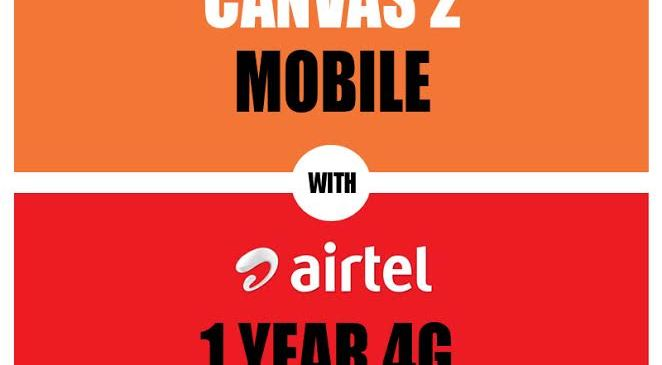 Buy Micromax Canvas 2 and Get 1 Year 4G Service of Airtel for Free