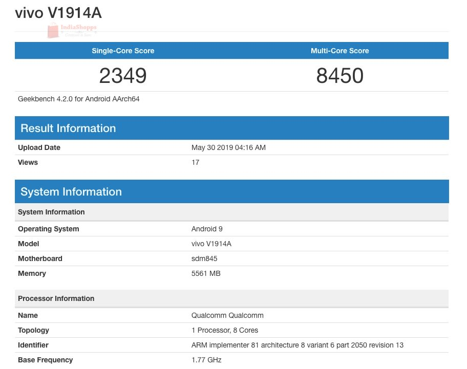 Vivo iQOO Youth Edition Geekbench V1914A