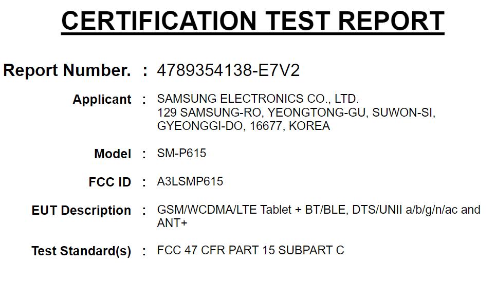 Tab S6 Lite FCC