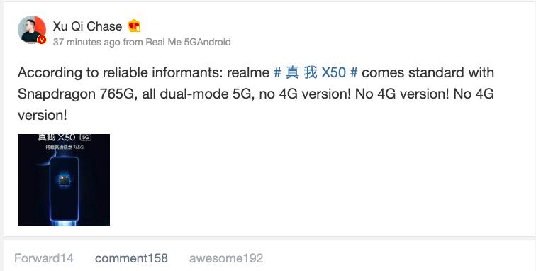 Realme X50 Only 5G, No 4G