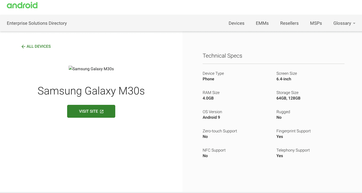 Galaxy M30s Android Enterprise