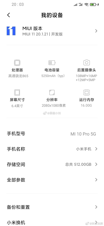 Mi 10 Pro Leaked Specifications