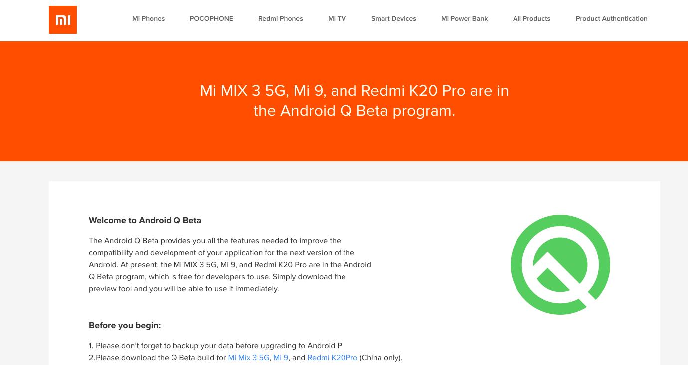 Redmi K20 Pro Android Q Beta Program