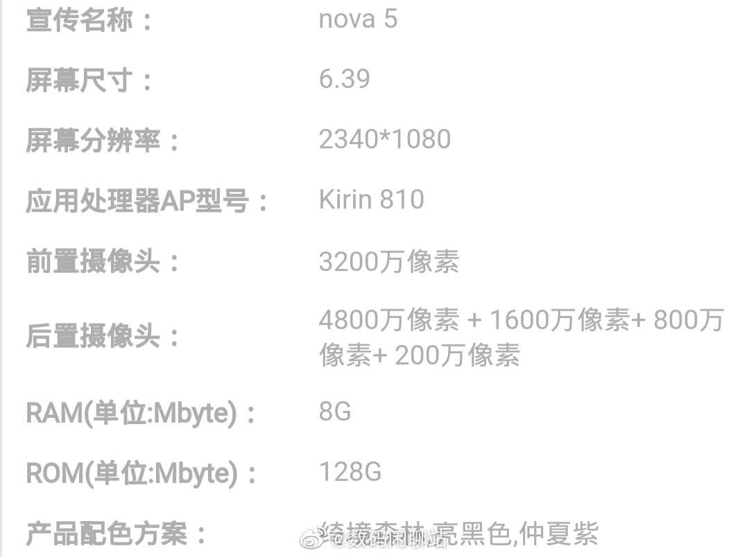 Huawei Nova 5 Key Specifications Leaked