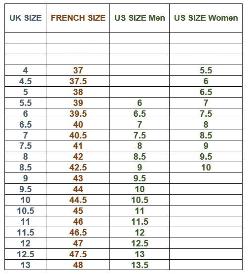 English Shoe Sizes To French