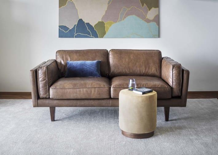 Small sofa with ottoman