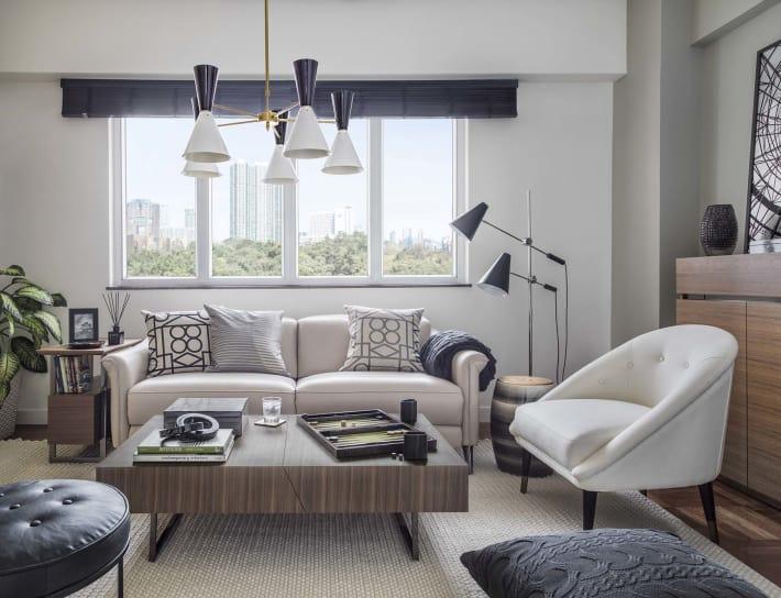 Window behind living room sofa