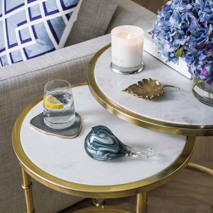 Sofa circular side table in gold and marble