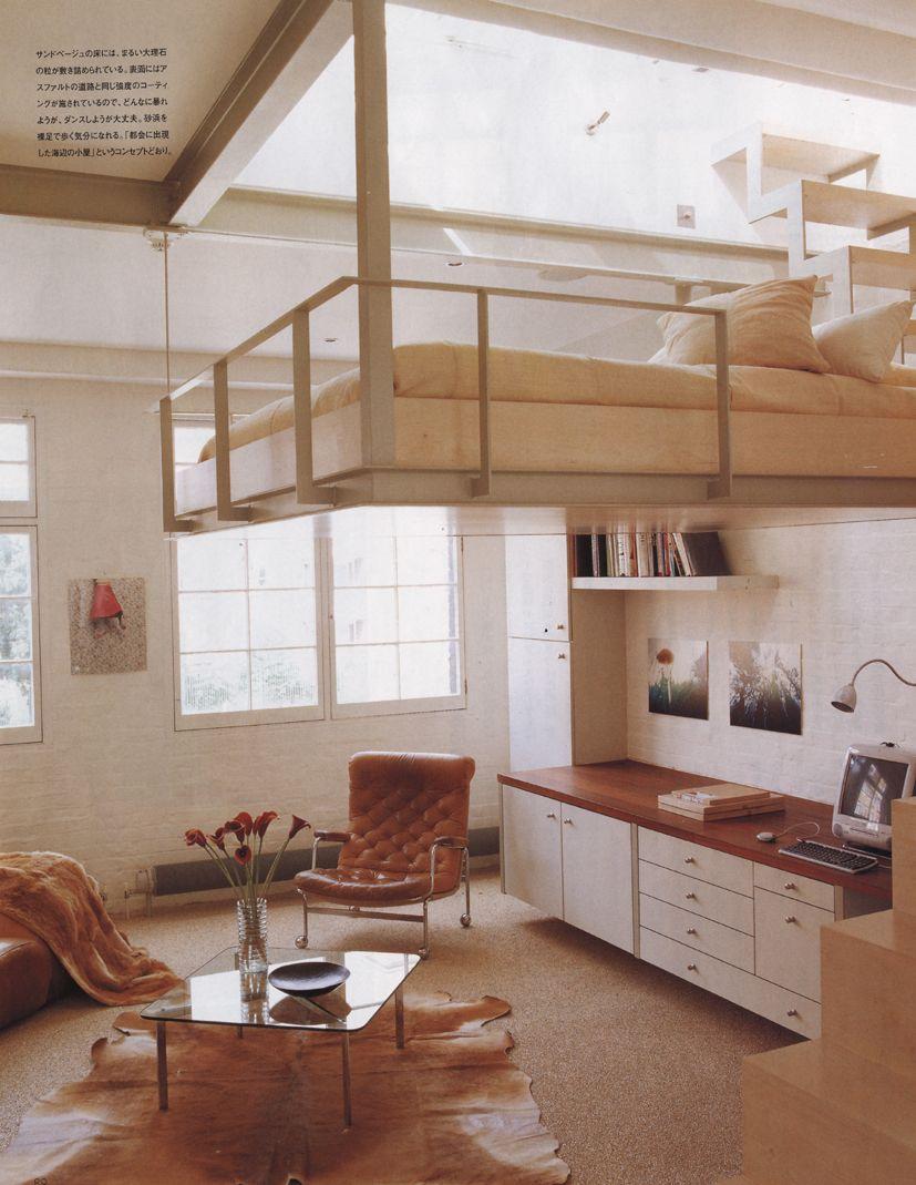 Mezzanine as floating bed | Source: pinterest.com
