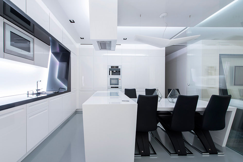 Futuristic kitchen/dining room | Source: impressiveinteriordesign.com