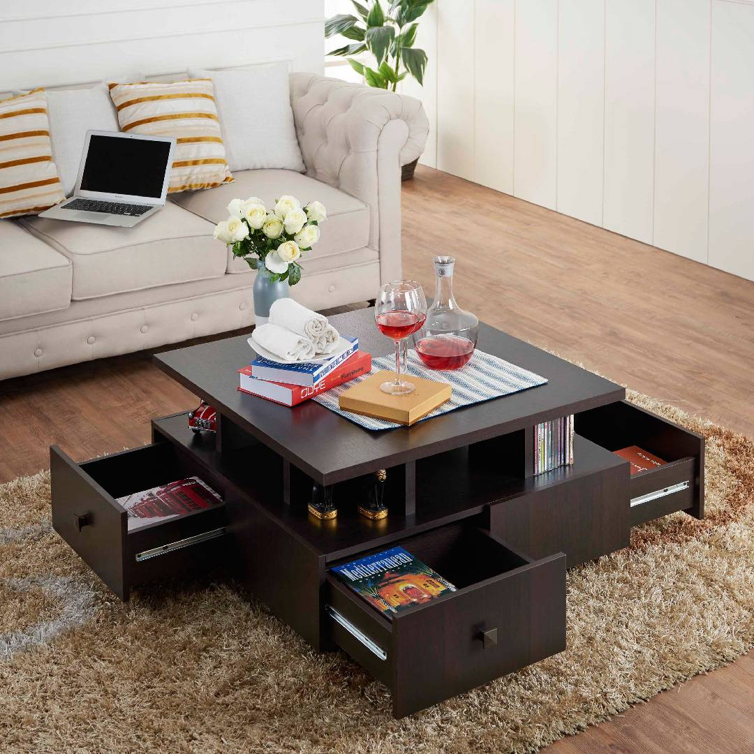 Coffee table with lots of storage spaces | Source: slicethinner.com