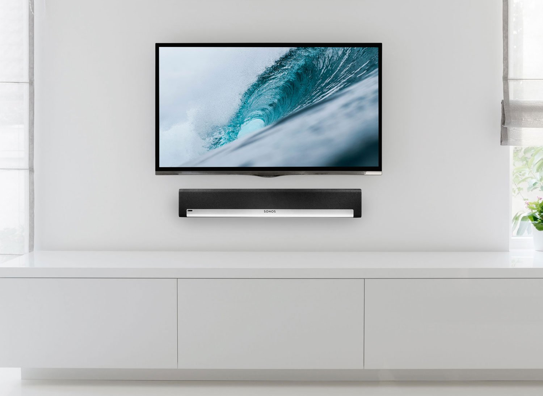 Wall-mounted TV and soundbar   Source: mount-it.com