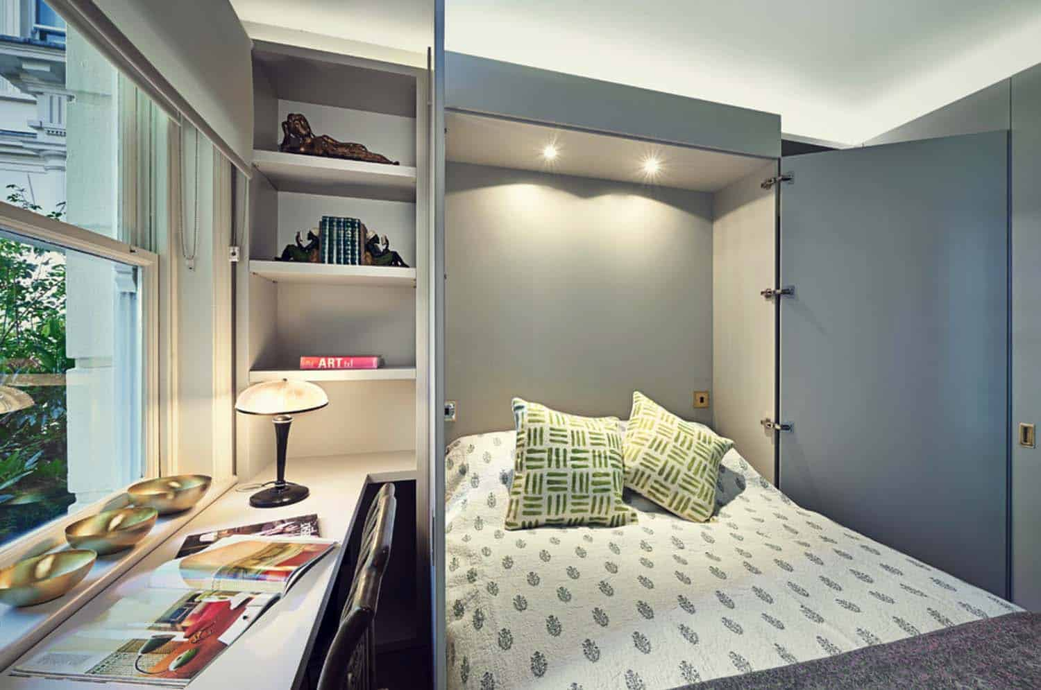 Guest room/office combo with Murphy bed | Source: onekindesign.com