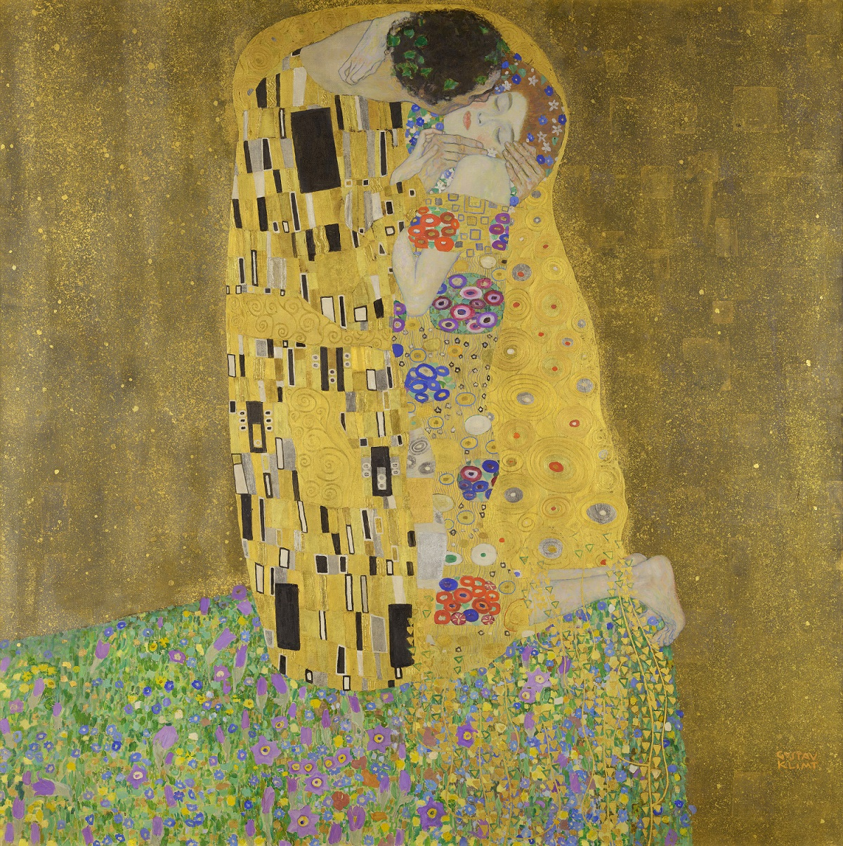 "Gustav Klimt's infamous oil painting ""The Kiss"" (1908) Source: wikimedia.org"