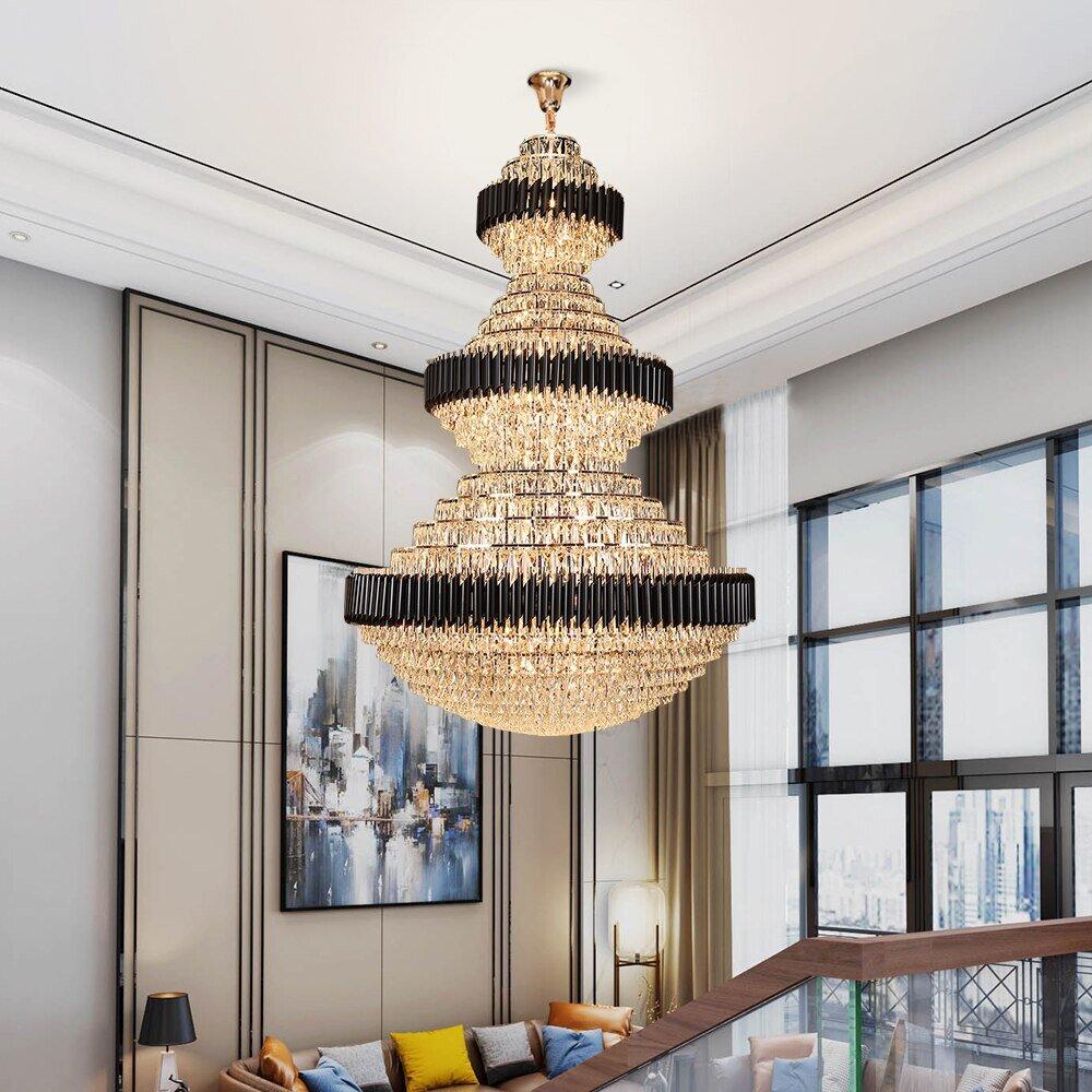 Elegant chandelier for high-ceiling living room   Source: eleglamlighting.com