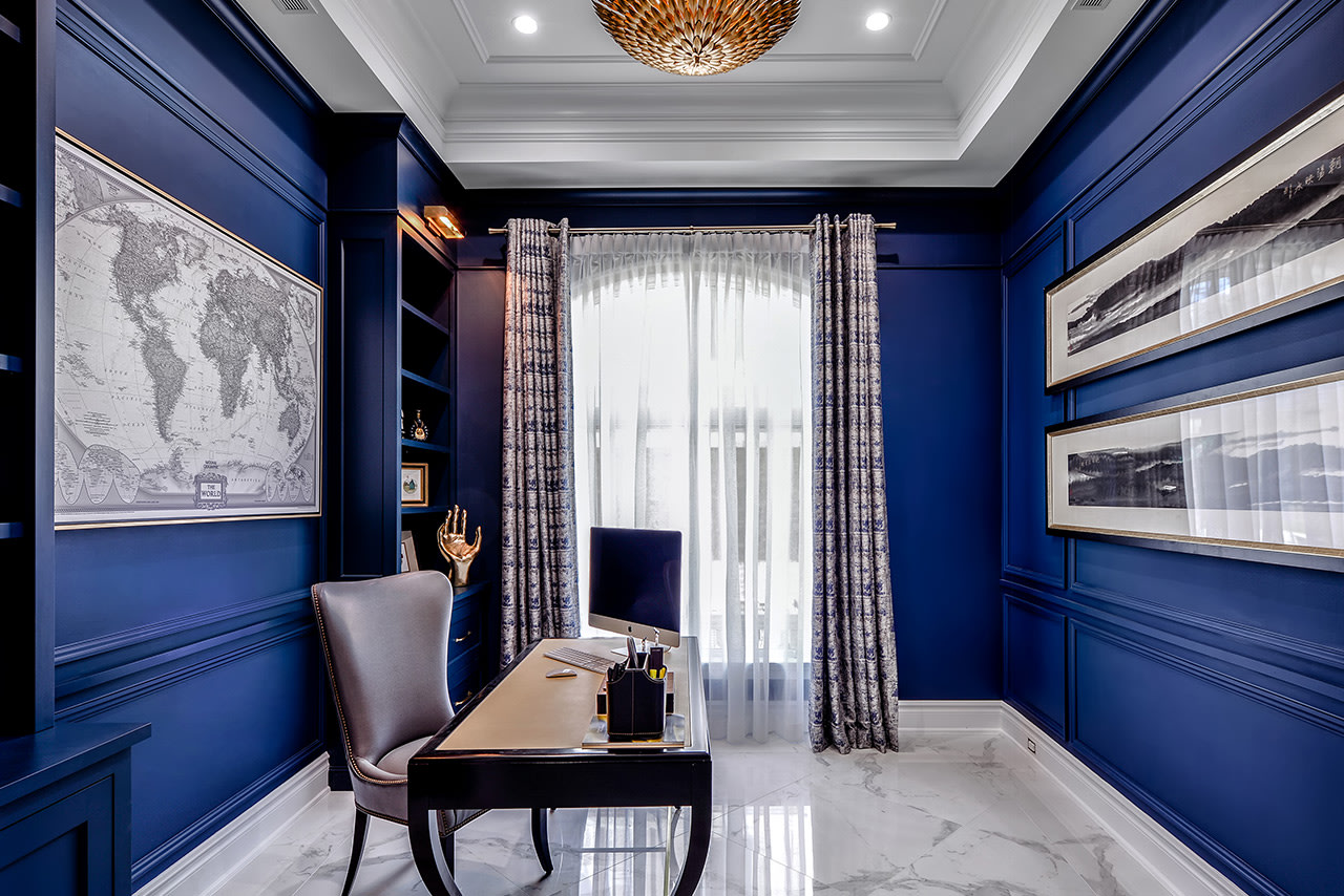 Blue home office | Source: kitchendesigns.com