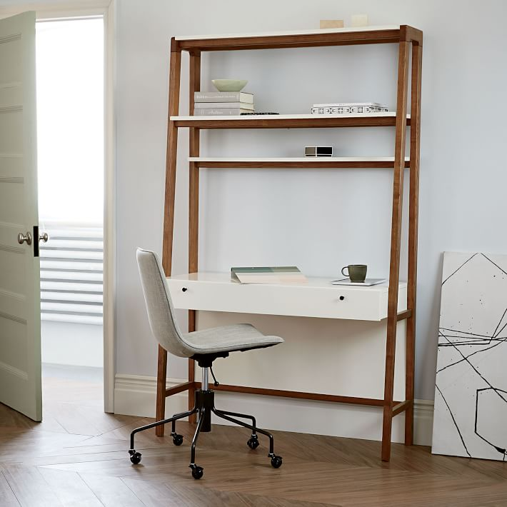 Desk/shelving combo for small space office | Source: westelm.com