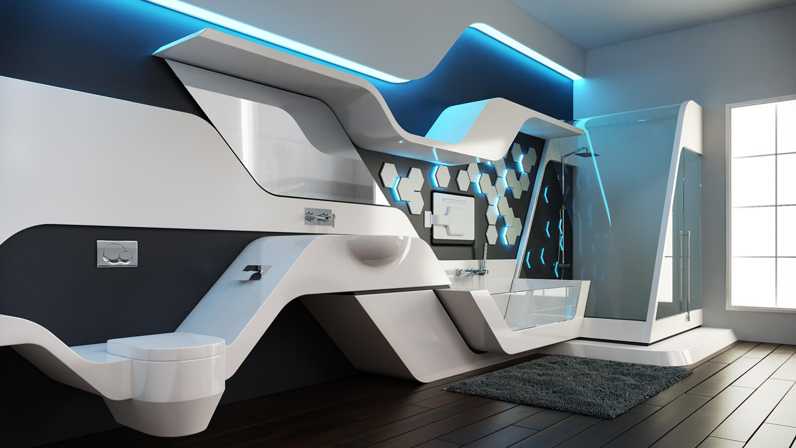 Futuristic bathroom | Source: bathandpamper.com
