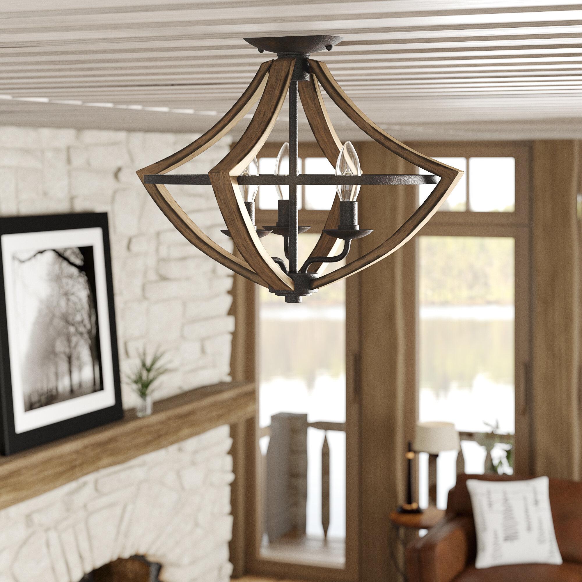 Flush mount lighting for low ceiling living room | Source: wayfair.com