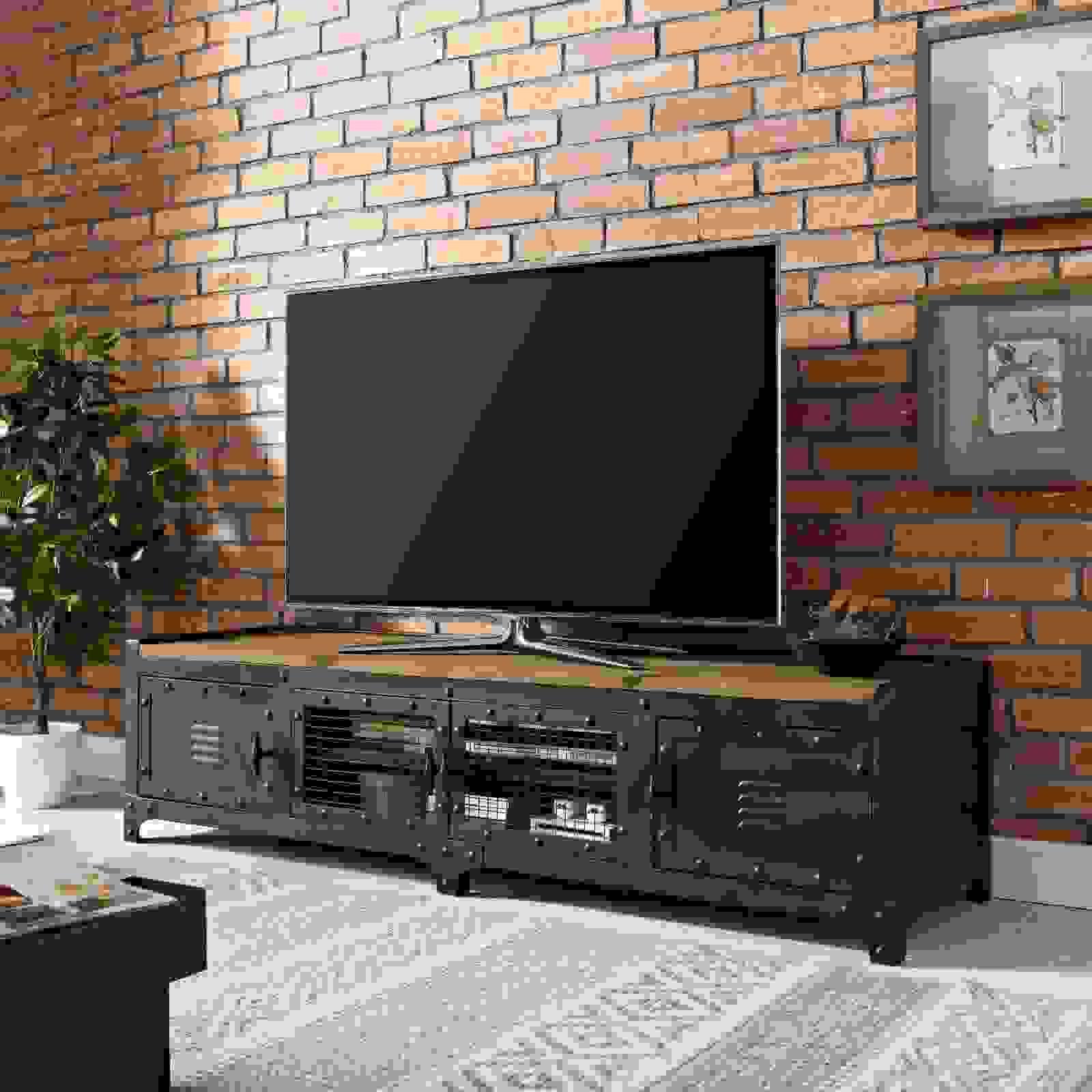 Pinewood steel metal TV stand | Source: ebay.com