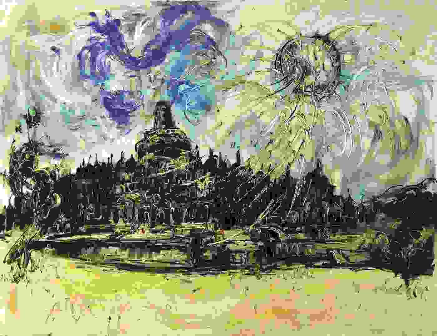 <em>Borobudur and The Sun </em>by Affandi | Source: sothebys.com