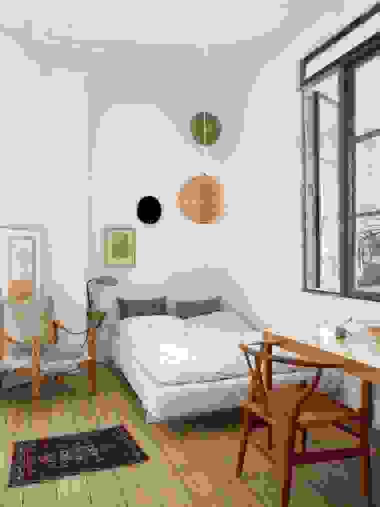 Scandinavian bedroom-office combo | Source: apartmenttherapy.com
