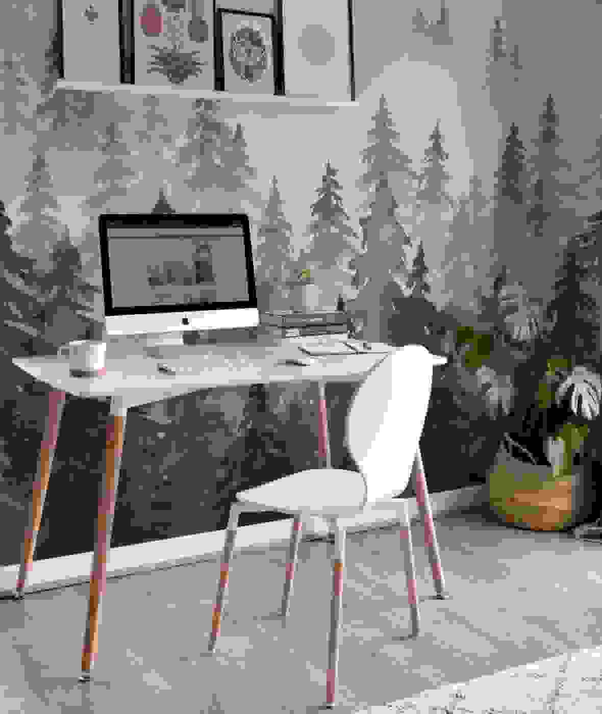 Home office with wallpaper | Source: muralswallpaper.com