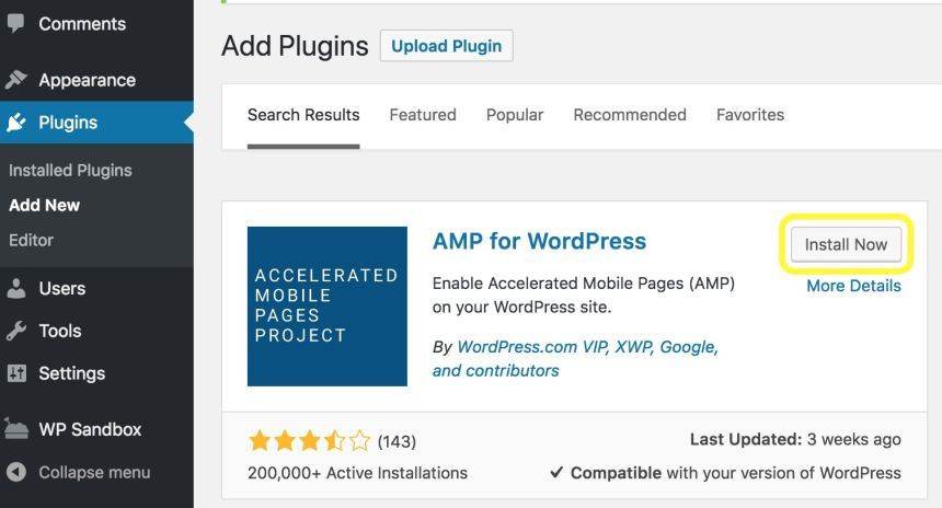 Plugin AMP For WordPress
