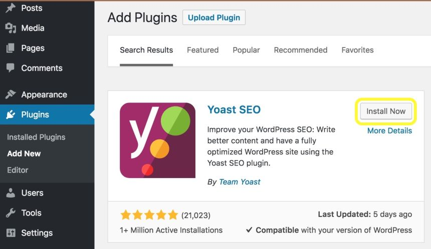 Tampilan-plugin-Yoast-SEO-di-halaman-plugin-WordPress